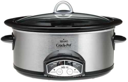 Crock-Pot 38601-C 6-Quart Oval Smart-Pot Slow Cooker, Chrome