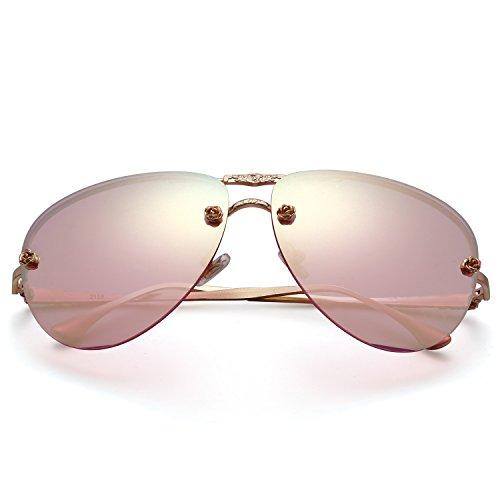 Menton Ezil Fashion Classic Style Metal Frame Rose Gold Mirrored Aviator Sunglasses Pink Gradient Lens Reflective