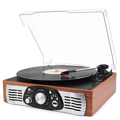 1byone-belt-drive-3-speed-stereo-turntable-with-built-in-speakers-supports-vinyl-to-mp3-recording-us