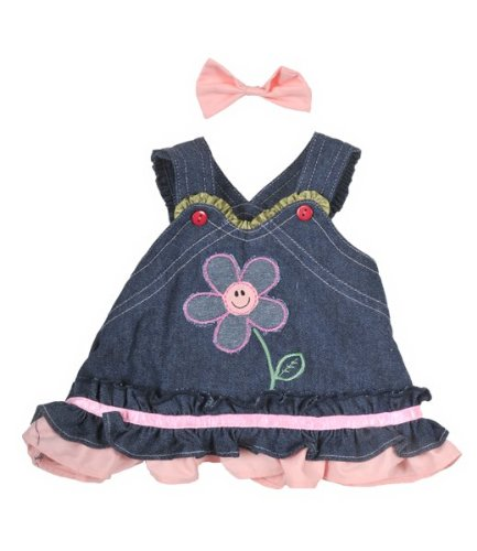 Summer Denim Dress w/Bow Teddy Bear Clothes Outfit Fits Most 14