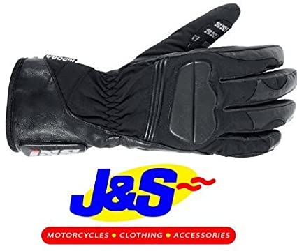 IXS Bangor Gants de moto imperméables en cuir Gant de moto Noir J & S