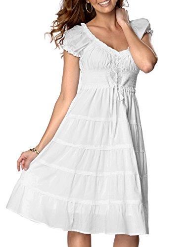 Women's Plus UK Size 6 - 28 White Cotton Lined Sun Dress size uk 16 eu 42
