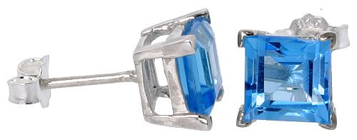 December Birthstone, Natural Blue Topaz 1 1/4 Carat (6mm) Size Princess Cut Square Stud Earrings in Sterling Silver Basket Setting