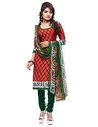 SareeShop Women's Georgette Semi-Stitched Dress Material (B2B3005_Red_Free Size)