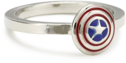 Marvel Comics Capt America Shield Enamel Ring, Size 7
