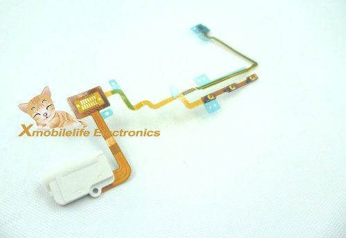 White Headphone Audio Jack Power On/Off Volume Up/Down Control Button Key Lock Hold Switch Flex Ribbon Cable For Ipod Nano 7Th Gen 16Gb