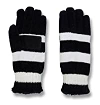 Isotoner Womens Microluxe Lined Chenille Gloves, One Size, Black Stripe