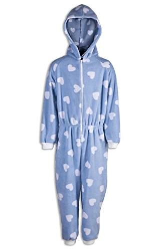 Camille Childrens Girls Blue With White Heart Print All In One Pyjama Onesie