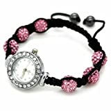 Shamballa Bracelet Watches Swarovski Watch Crystal Beads 10mm (PINK) with Gift Bag