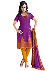 PShopee Purple & Mustard Jacquard Cotton Embroidery Unstitched Dress Material