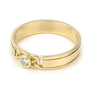 Ortak Jewellery Celtic Collection 9ct Yellow Gold DR 023 Diamond Women's Engagement Ring - Size L