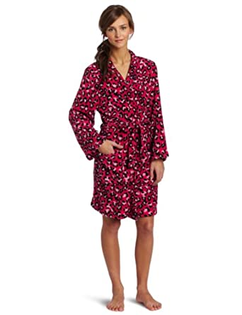 Sweet Juniors Animal Print Kimono Robe, Hot Pink/Pink/Black, Large
