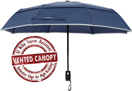 Arcadia Outdoors Vented Double Canopy Wind Resistant Travel Umbrella with Reflective Edge - Navy Blue Auto Open/Close - Lifetime Guarantee
