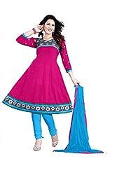 Kimisha Pink Cotton Embroidered Anarkali Dress Material