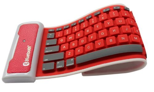 Fom Portable Wireless Bluetooth Foldable Silicone Waterproof Keyboard For Ipad 2/3 - Red