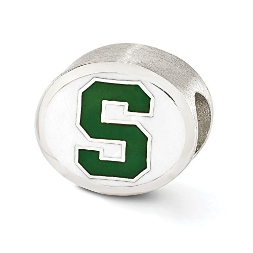 Michigan State University Collegiate Charm in Sterling Silver & Enamel