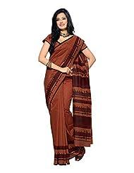 Fabdeal Indian Wear Brown Cotton Printed saree-QVQSR401MR