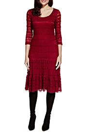 Fit & Flare Layered Lace Shift Dress [T62-7109J-S]