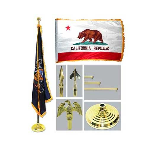 California 4Ft X 6Ft Flag Telescoping Flagpole Base And Tassel