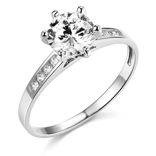 14k White Gold SOLID Wedding Engagement Ring - Size 4.5