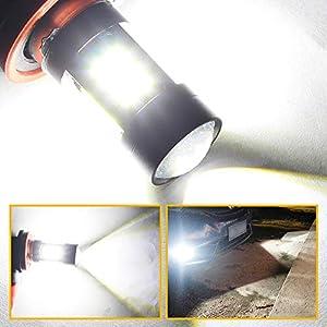 BOODLED Boodlied 9-30V H8 H16 H11 LED Fog Light Bulbs High Power 3030 21SMD Chipsets 6000~6500K 1800LM LED Bulbs for Fog Lights or DRL Lights.Xenon White. 2-Pack .