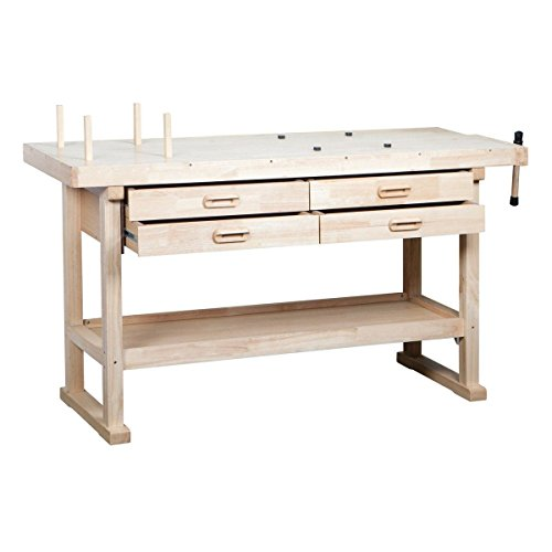 5' Hardwood Work Bench 4 Drawers/Vise/Storage Shelf Great For Shop or Garage (Milk Shed Heater compare prices)