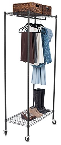 Internet's Best Portable Clothes Garment Rack with Wire Shelving | Adjustable Shelves | Heavy Duty Commercial-Grade Rolling Closet Wardrobe Organizer | On Wheels | Black (Wire Shelving And Garment Rack compare prices)