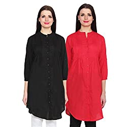 NumBrave Black & Red Long Cotton Top (Pack of 2)