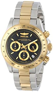 Invicta Speedway Men's Quartz Watch with Black Dial Chronograph Display and Stainless Steel Gold Plated Bracelet in Two-Tone Stainless Steel Case 9224
