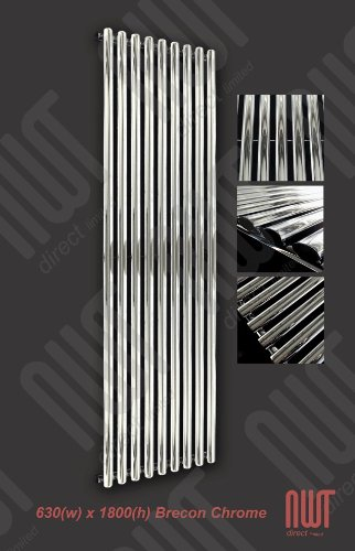 630 x 1800 Brecon Designer Radiator - Chrome 3624 BTU's Vertical Oval Tube Tall Upright Central Heating Radiator