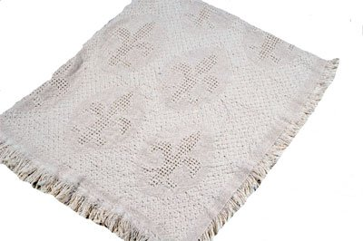 Natural Cream Fleur de Lis Afghan Throw Blanket 48