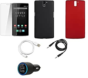 NIROSHA Tempered Glass Screen Guard Cover Case Car Charger USB Cable for - Combo