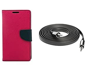 Metly Wallet Cover For Micromax Canvas Entice A105 Color Pink With Aux Cable