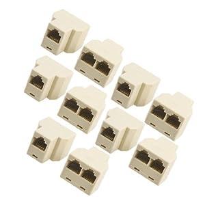 10 Pcs 3 Way RJ45 LAN Network Ethernet Splitter Connector Beige