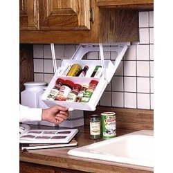 Under cabinet pull down spice rack storage. (first aid box & more?)