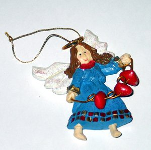 Christmas Tree Ornament Frosted Angel 1999 Vintage Seasonal Holiday Figurine