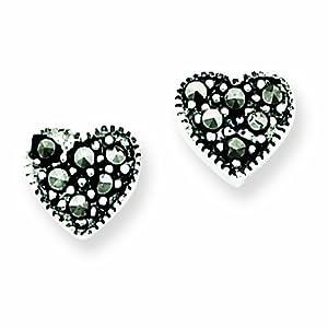 Sterling Silver Marcasite Heart Earrings