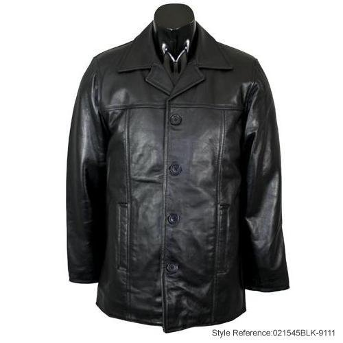 Mens Black Nappa Mid Length Leather Overcoat K1B Size XXXL-Triple Extra Large