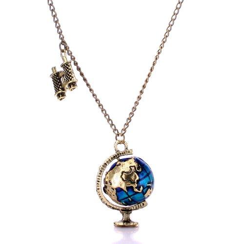 Retro Pendant Globe Telescope Style Chain Charm Ornate Coat Sweater Vintage Necklace