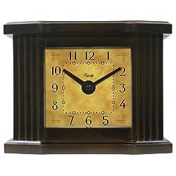 Equity by La Crosse 25112 6 Inch Natural Dark Wood Grain Mantel Clock