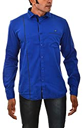 Indipulse Men's Casual Shirt (IF1151104A, Blue, L)