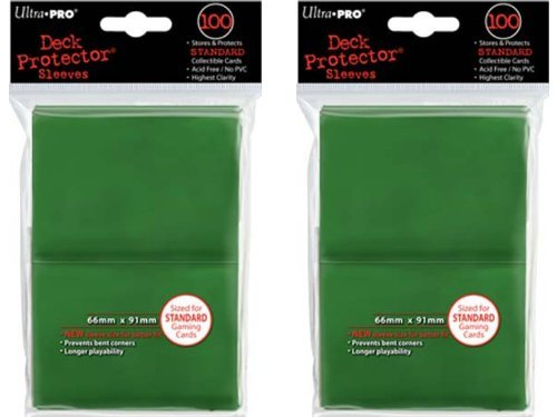 200 Ultra-Pro Green Deck Protector Sleeves 2-Packs - Standard Magic the Gathering Size