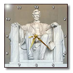 3dRose dpp_88995_1 Abraham Lincoln Memorial, Washington DC-US09 RKL0011-Raymond Klass-Wall Clock, 10 by 10-Inch