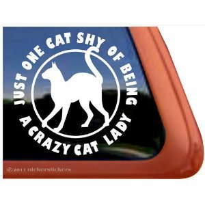 2x crazy cat lady size 9 stickers vinyl for Amazon gelbsticker