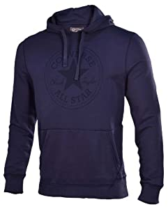 Converse Men's Patch Logo LS Hoodie Sweater-Navy-XL