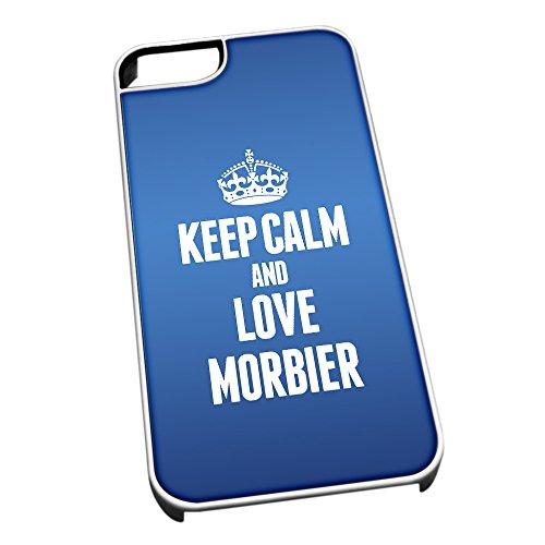 Weiß Cover für iPhone 4/4S 1291blau Keep Calm und Love morbier (Jura)
