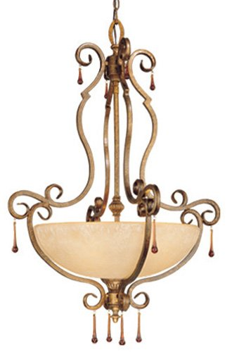 Vaxcel USA VEPDU280TZ Versailles 5 Light Foyer Pendant Lighting Fixture in Bronze, Glass