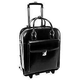 McKlein Women\'s La Grange Leather Vertical Detachable-Wheeled Briefcase, Black, 14.4\'\'x8.75\'\'x18.5\'\'