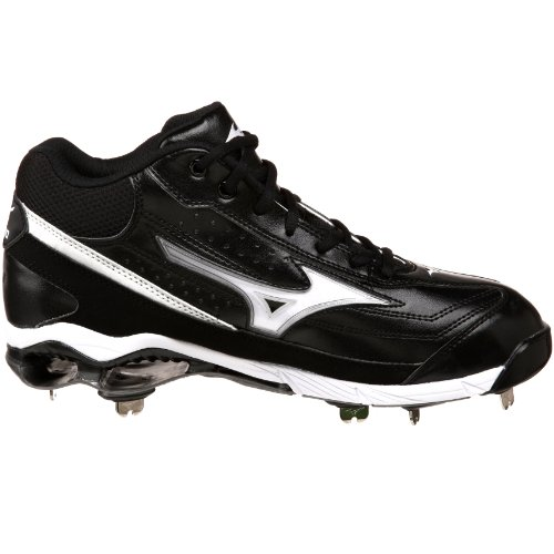 pictures of Mizuno Men's 9-Spike Classic G6 Mid Switch Baseball Cleat,Black/White,10 M US