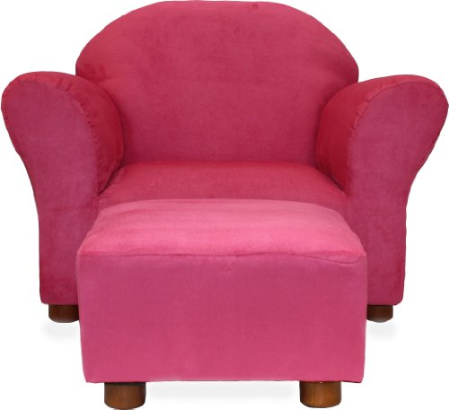 Fantasy Furniture Roundy Chair with Microsuede Ottoman, Hot Pink